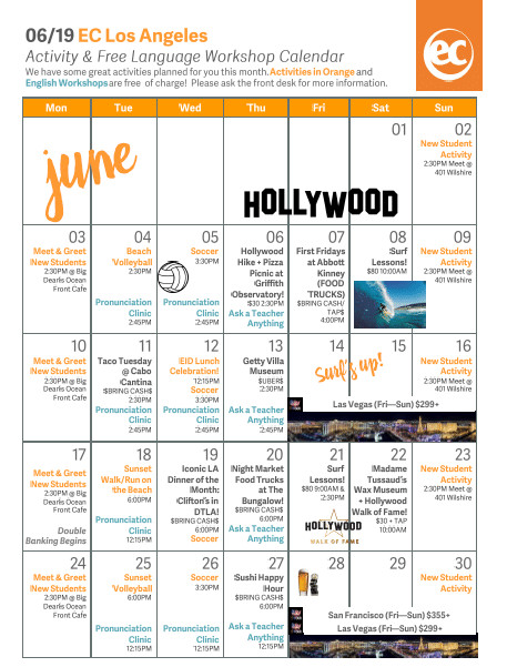 ECLA June Activity Calendar