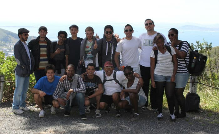 Teacher Mark and EC Cape Town students on a  mountain hike
