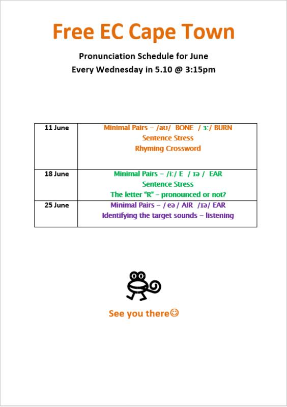 June 2014 Pronunciation schedule