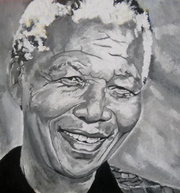 This is how we like to remember tata Madiba, always smiling. Painting by Paul Martin
