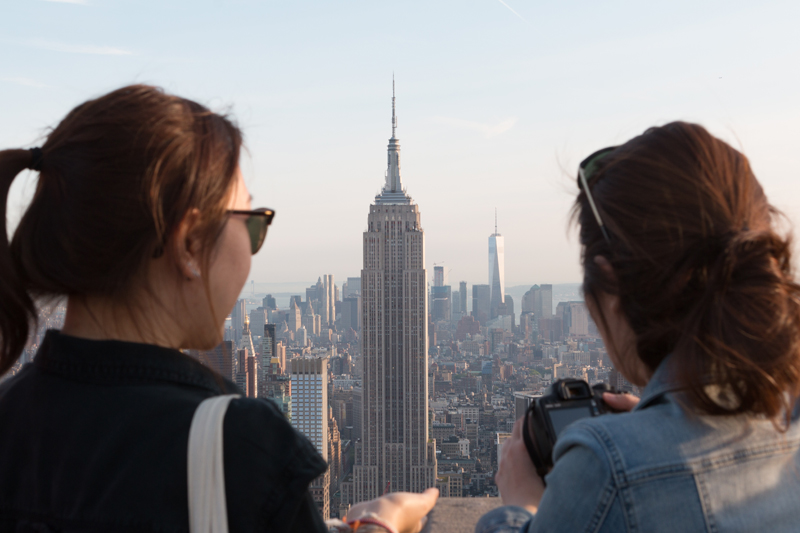 ... Girls learning English at EC enjoying the view of the Empire State  Building from the rooftop ...